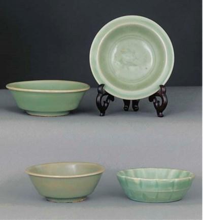 Four celadon glazed dishes, So