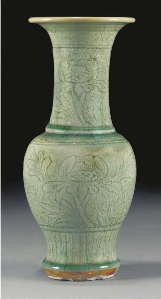 A Ming celadon glazed baluster