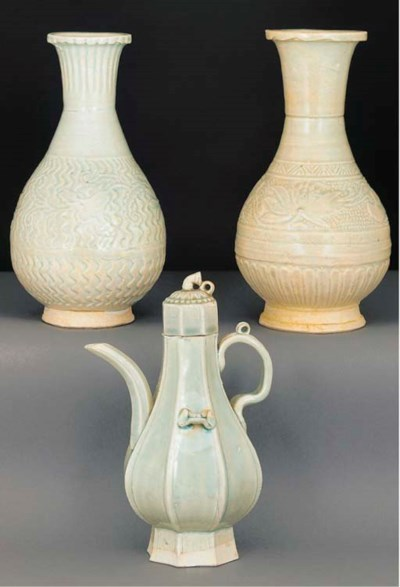A yingqing faceted ewer and co