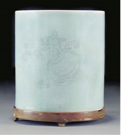 A large pale celadon glazed cy