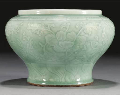 A pale celadon glazed squat ba