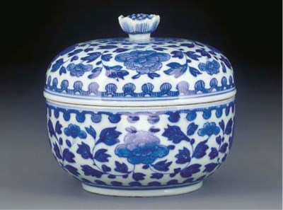 A blue and white bowl and dome