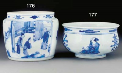 A blue and white jardiniere, K