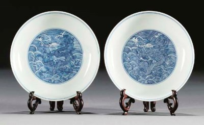 A pair of blue and white sauce