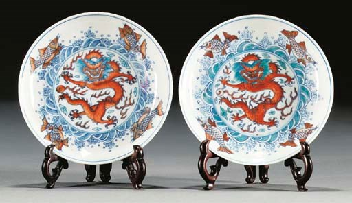 A pair of doucai style saucer
