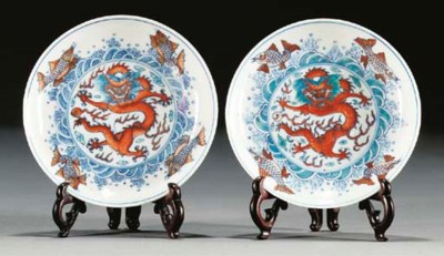 A pair of doucai style saucer