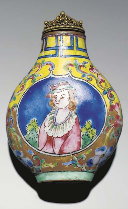 A Canton enamel snuff bottle, 19th century