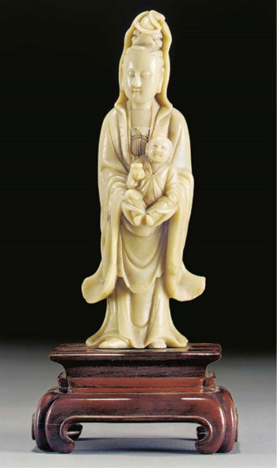 A soapstone model of Guanyin a