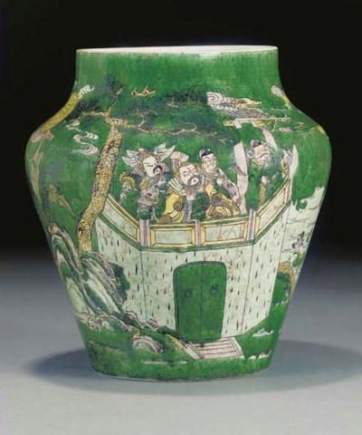 A famille verte tapering jar,