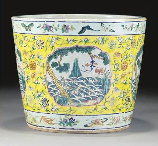 A famille rose planter, 19th c