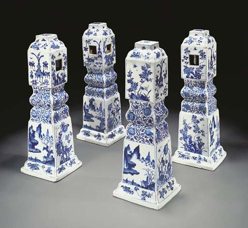 A set of four unusual blue and