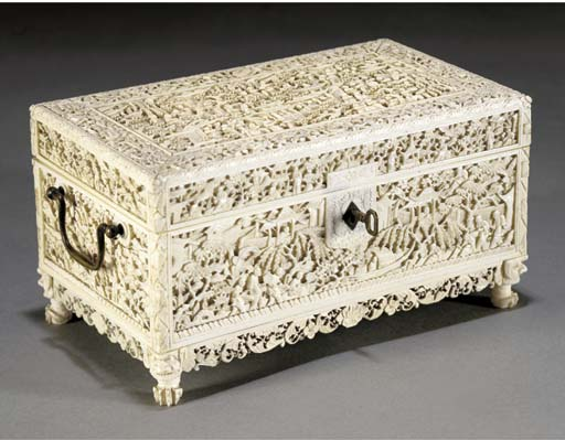 A Cantonese ivory casket and h