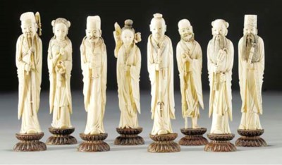 A group of eight carved ivory