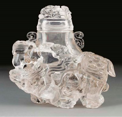 A clear rock crystal vase and