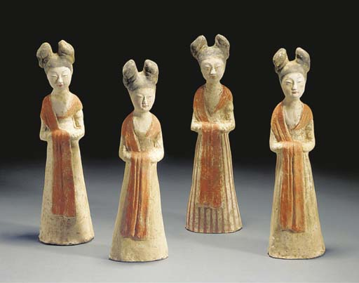 A set of four Tang painted pottery models of court ladies