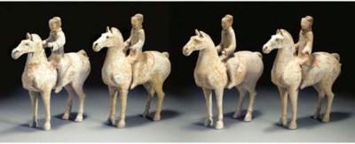 Four Han pottery equestrian fi