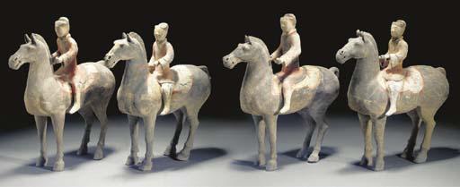 A set of four Han painted pott