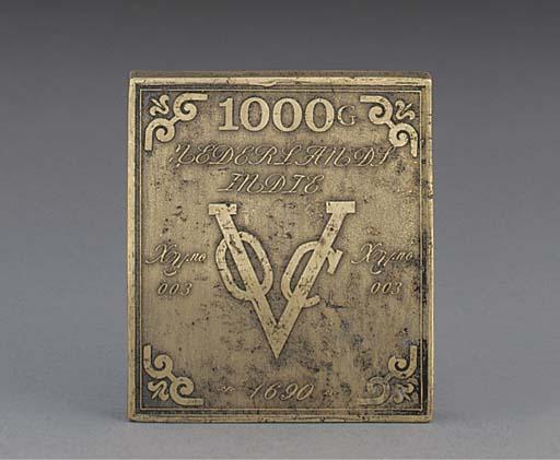 A rare rectangular bronze VOC