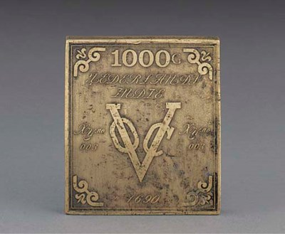 A rare rectangular bronze VOC