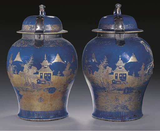 A pair of powder blue glazed temple jars and covers, 18th century