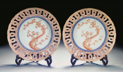 A pair of reticulated dishes,