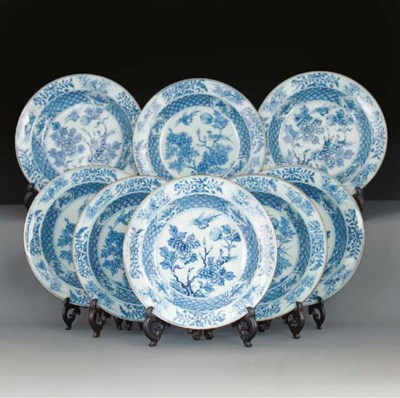 Eight blue and white soup plat