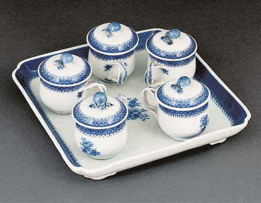 A blue and white square tray w