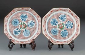 A pair of octagonal dishes for the Japanese market, Wanli