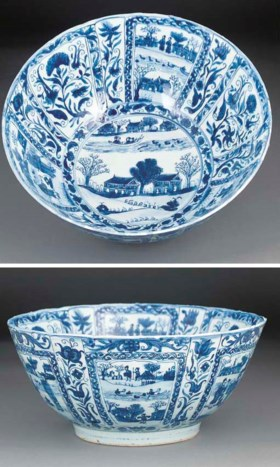 A large blue and white deep bowl, Wanli