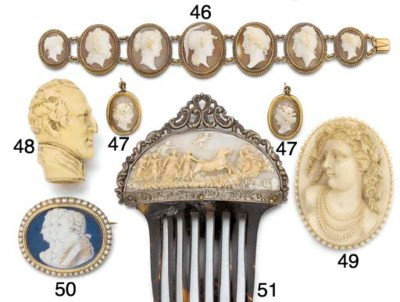 A pair of shell cameo earrings