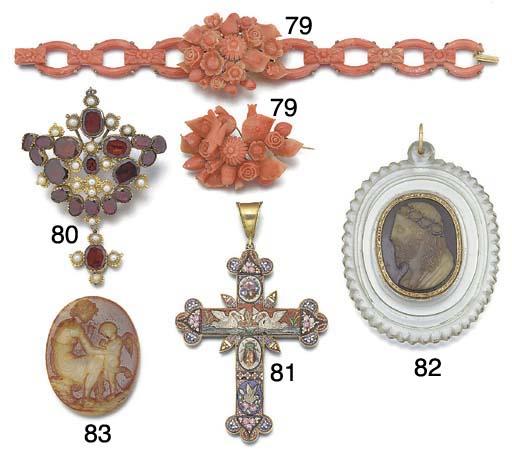 An Italian late 19th century silver-gilt and mosaic cruciform pendant