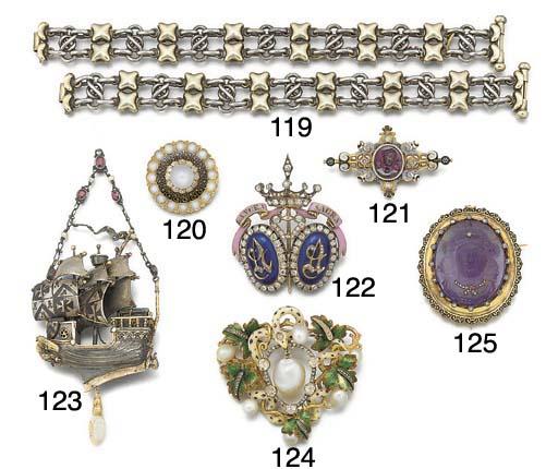 A 19th century gold, diamond and enamel brooch,