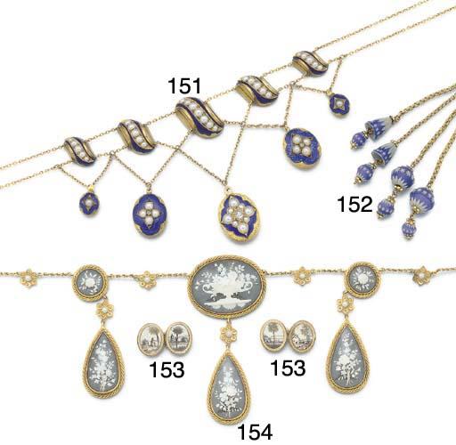 An antique jasper-ware and pinchbeck tassel necklace,