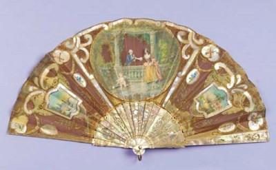 A double-sided fan, the brown