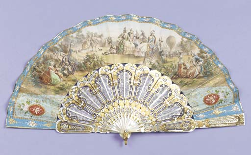 A ballooning fan, a hand-colou