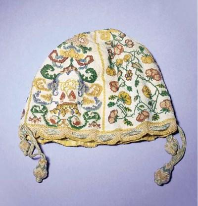 A drawstring purse, embroidere