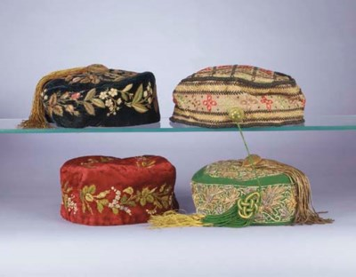 Four gentleman's smoking hats,