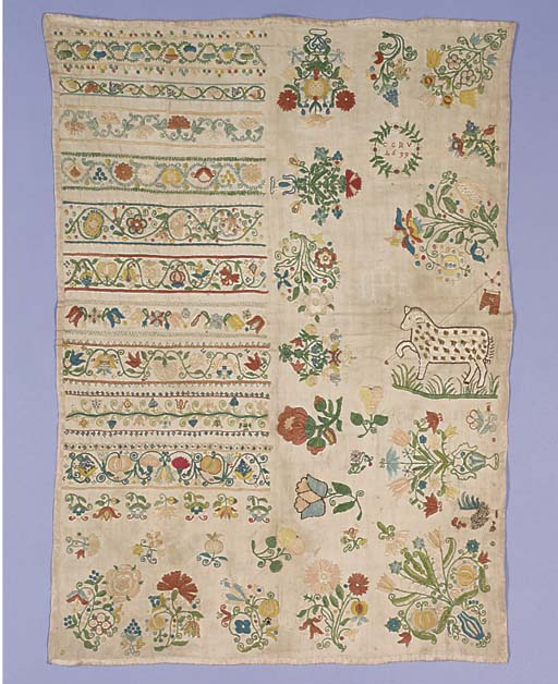 A sampler, with the initials C