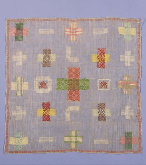 A very fine darning sampler, worked with the initials MCB beneath a coronet, dated 1791, worked in coloured and self coloured silks on a fine lawn ground--13½ x 13½in. (35 x 35 cm.)