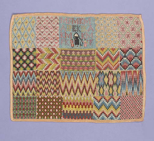 A spot sampler of repeated geometric patterns and flame stick motif, worked in coloured silks, the upper central square embroidered with the letters MSKAFE and three figures--11½ x 9in. (29 x 23cm.)