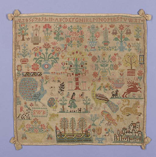 An Adam and Eve sampler, worked with the initials GMG and SWK, dated 1796, worked in coloured silks aith alphabets, numerals and spot motifs of flowers, peacocks, aprrots, lions and a central design of Adam and Eve--12 x 12in. (30 x 30cm.), slightly faded