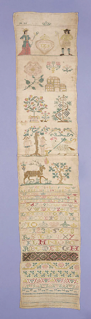 A band sampler, with the initials IEK in a heart below a coronet, flanked by two shepherds, dated 1750, worked in brightly coloured silks on a linen ground, the lower section with alphabets, numerals and border patterns, the upper section with flower sprays, the Temptation of Adam and Eve and the Lamb of God--43 x 9in. (109 x 23cm.)