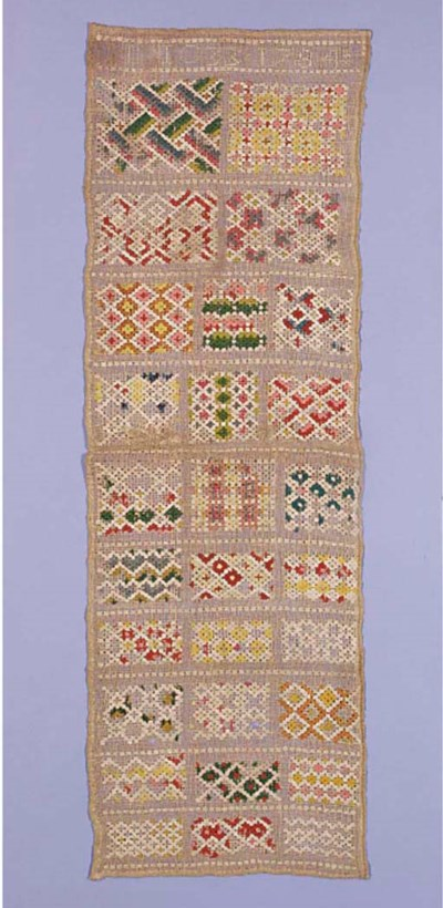 A band sampler, dated 1784, wo