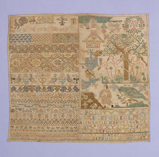 A sampler worked in coloured silks on alinen ground, the left side embroidered with repeated geometric patterns and border motifs, the right with the Temptation of Adam and Eve, the Lamb of God and an unusual inverted Crucifixion--14 x 13in. (36 x 33cm.), worn