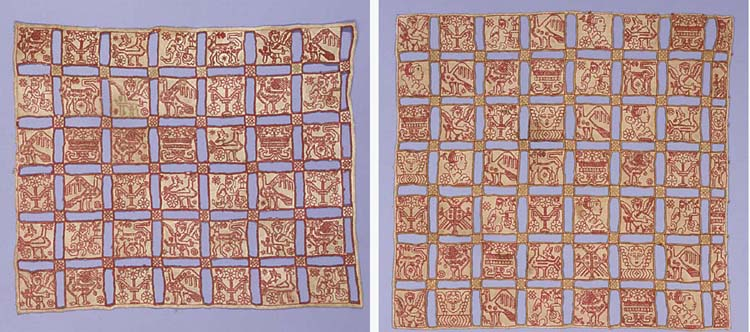 An embroidered linen panel, consisting of forty-two squares, each bordered by openwork sections, the squares embroidered in red silks with a variety of motifs, including cupids, birds and flowers--13 x 15½in. (33 x 39.5cm.), Italian, possibly 18th century; and another, consisting of forty-nine squares, each bordered by openwork sections and embroidered in red and gold silks with cupids, figures, flowers, animals and birds--16 x 17in. (40.5 x 43cm.), Italian, probably 19th century