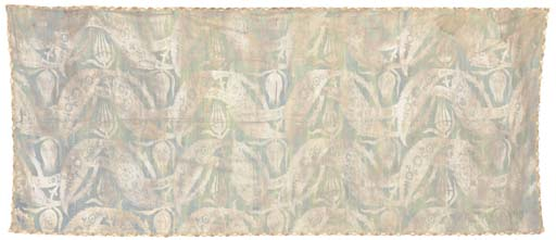 A panel of sea-green silk, printed in silver with undulating bands of Ottoman style palmettes, tulips and saz leaves, trimmed with silver lace, labelled MARIO FORTUNY, VENISE, no. 35?--116 x 49in. (296 x 125cm.). some splittingSee Illustration