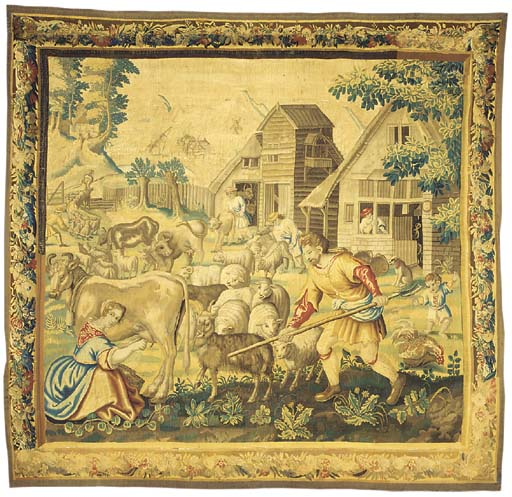A large pastoral tapestry, wov