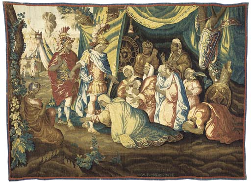 Alexander in the tent of Darius, a tapestry woven in coloured wools with silk highlights, with Alexander and an attendant at the entrance to a tent hung with rich drapery, with an encampment beyond--109 x 150in. (276 x 282cm.), French, by Jean Bussière after Charles Le Brun, mid 18th century, with DAUBUSSON IBUSSIERE woven to lower edge, with later red and blue outer slip, some repairs