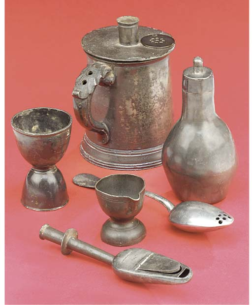 Six pewter items,