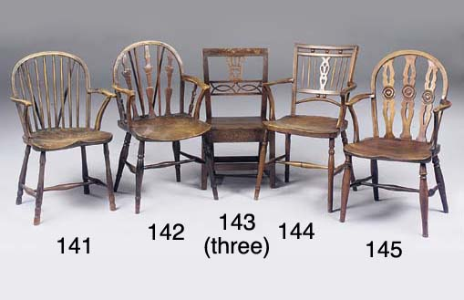 A THAMES VALLEY FRUITWOOD, ASH AND ELM WINDSOR ARMCHAIR